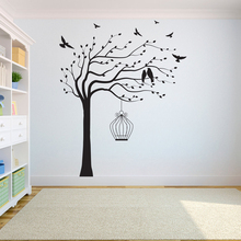 Tree Wall Decal Sticker Bedroom tree of life roots birds flying away home decor  Bird cage on the tree A7-003 the tree of life