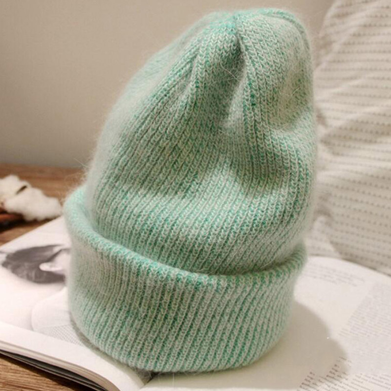 2019 Autumn Winter Women Vintage Rabbit Knit Hats Fashion Solid Warm Girl Hat Female Casual   Skullies     Beanies   Caps New Arrival