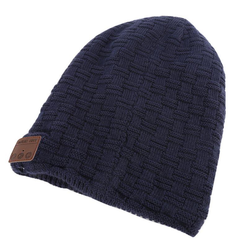 Bluetooth V3.0 наушников Смарт шапки зима теплая шерсть Шапка-бини внутри мех Беспроводной гарнитура с Динамик Mic