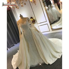 Elegant New Model Long Sleeve Lace Mermaid Wedding Dresses With Removable Train 2020