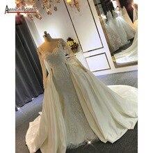 Vestidos de novia elegantes de sirena de encaje de manga larga con cola de quita y pon 2020