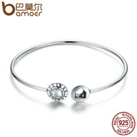 BAMOER Genuine 925 Sterling Silver Family Forever Clear CZ Geocentric Cuff Bangles Luxury Sterling Silver Jewelry