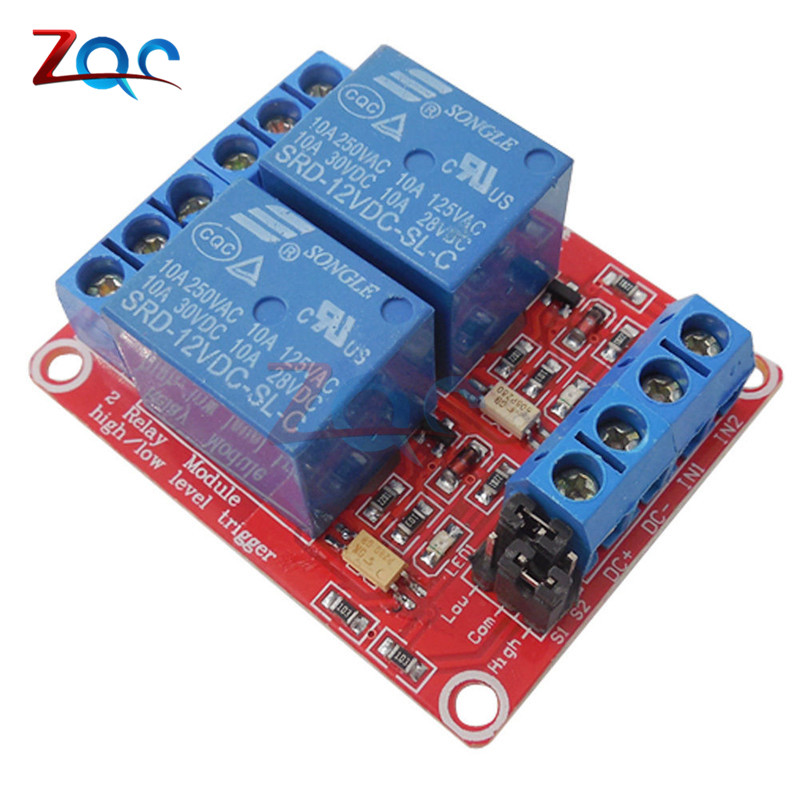 Two 2 Channel 12V Relay Module Board Shield With Optocoupler Support High and Low Level Trigger Relay For Arduino 5v 2 channel ir relay shield expansion board module for arduino with infrared remote controller