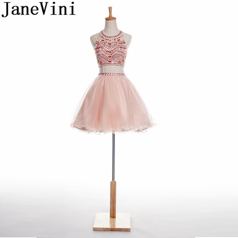 JaneVini Two Pieces A Line Crystal Homecoming   Dresses   Formal Beaded Pearls Backless Tulle   Bridesmaid     Dresses   Short Kurze Kleider