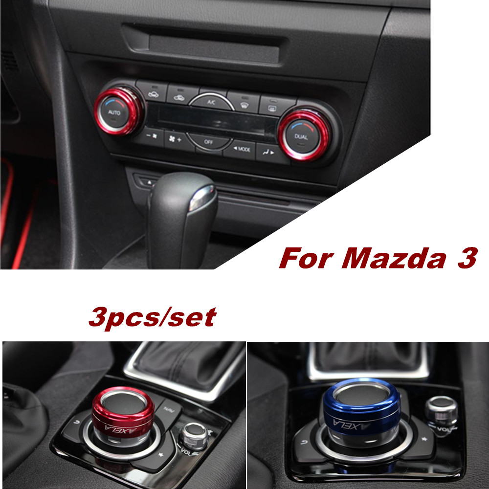 3pcs Heater Knobs A//C Switch Control Button Dials Cover For MAZDA 3 M3 04-09 GW