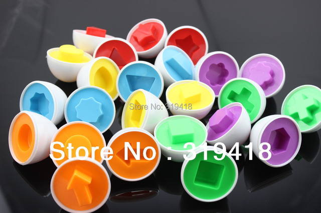 NEW HOT Creative Smart Eggs toy for baby kids 6pcs/lot Puzzle Eggs Match Shapes Match Wise Smart Learning Kitchen Toy Wholesale