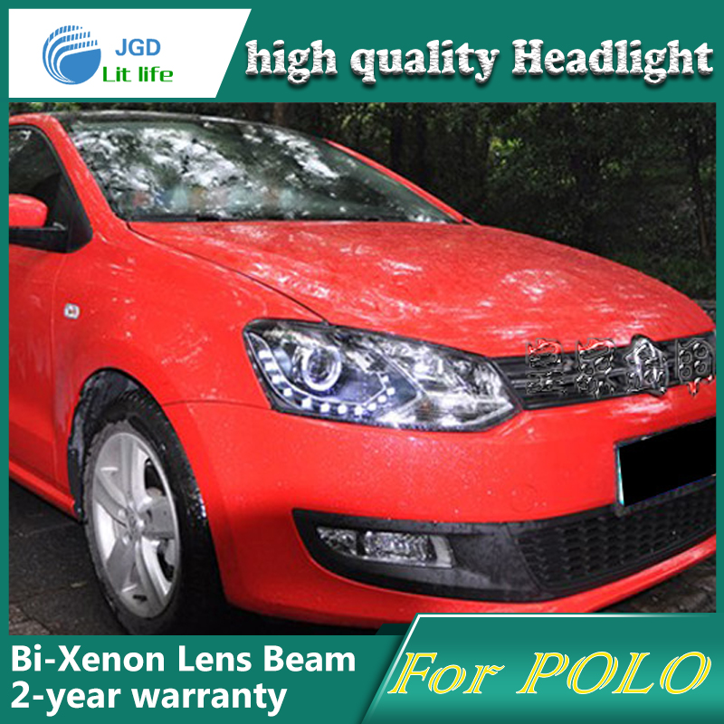 high quality Car Styling Head Lamp case for VW Polo 2011 LED Headlight DRL Daytime Running Light Bi-Xenon HID Accessories цены