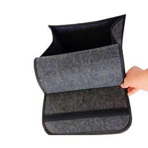 Image 4 - 소프트 모직 펠트 자동차 트렁크 주최자 30*16*29cm 자동차 스토리지 박스 가방 내화 Stowing 깔끔한 패키지 담요 도구