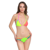 2017 Sexy Two Piece Bandage Swimsuit Padded Push Up Sports New Clothing Beachwear Swimwear Color Matching Toghter Bathing Suit
