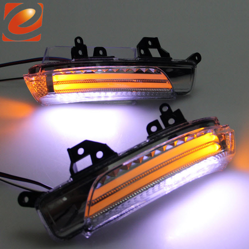 eeMrke For Toyota SAI AZK10 2009-2013 Side Rear View Mirror Lights LED DRL Turn Signals Irradiated Ground Lights eemrke for toyota voxy 2007 2008 2009 2010 2011 2012 2013 side rear view mirror lights led drl turn signals