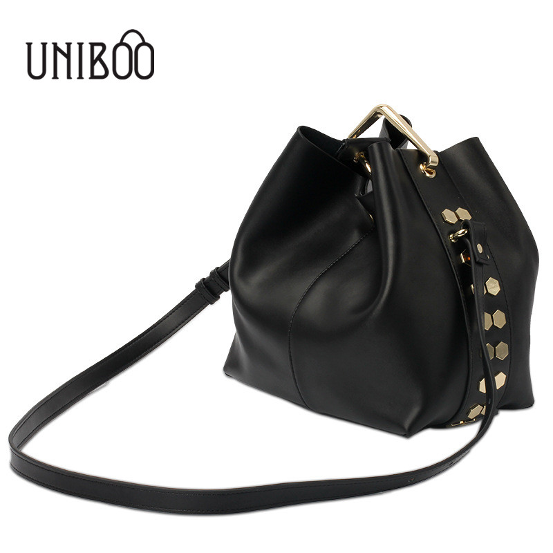 ФОТО Famous brand design genuine leather female personali bucket bag korean style brief solid color cowhide tote single shoulder bag