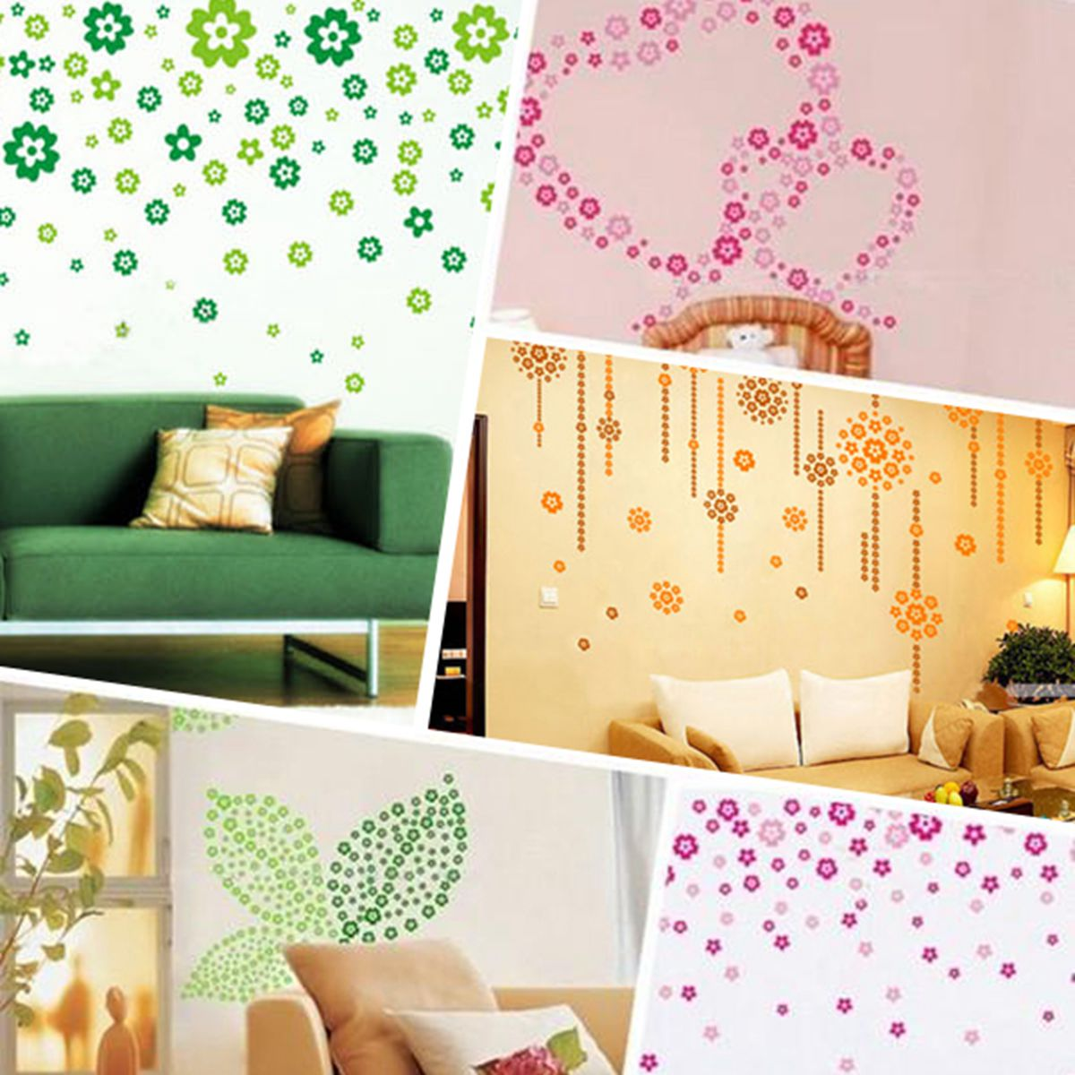 PVC Removable Flower Butterfly Wall Stickers Water Proof Art Wall ...