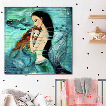 Mermaid Cartoon Wall Art Canvas Poster And Print Canvas Painting Oil Decorative Picture For Nursery Bedroom Home Decor Framework
