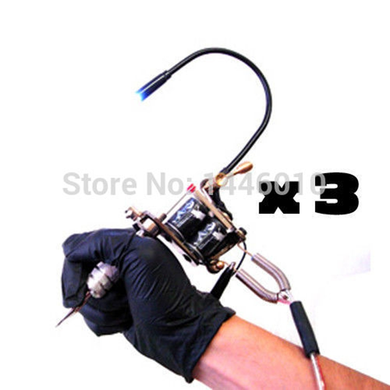 Tattoo Machine Light Flexibel Vit LED Light Adjustable Gun 3PCS Med Blå Röd Och Svart Färg Tattoo Tillbehör Gratis frakt