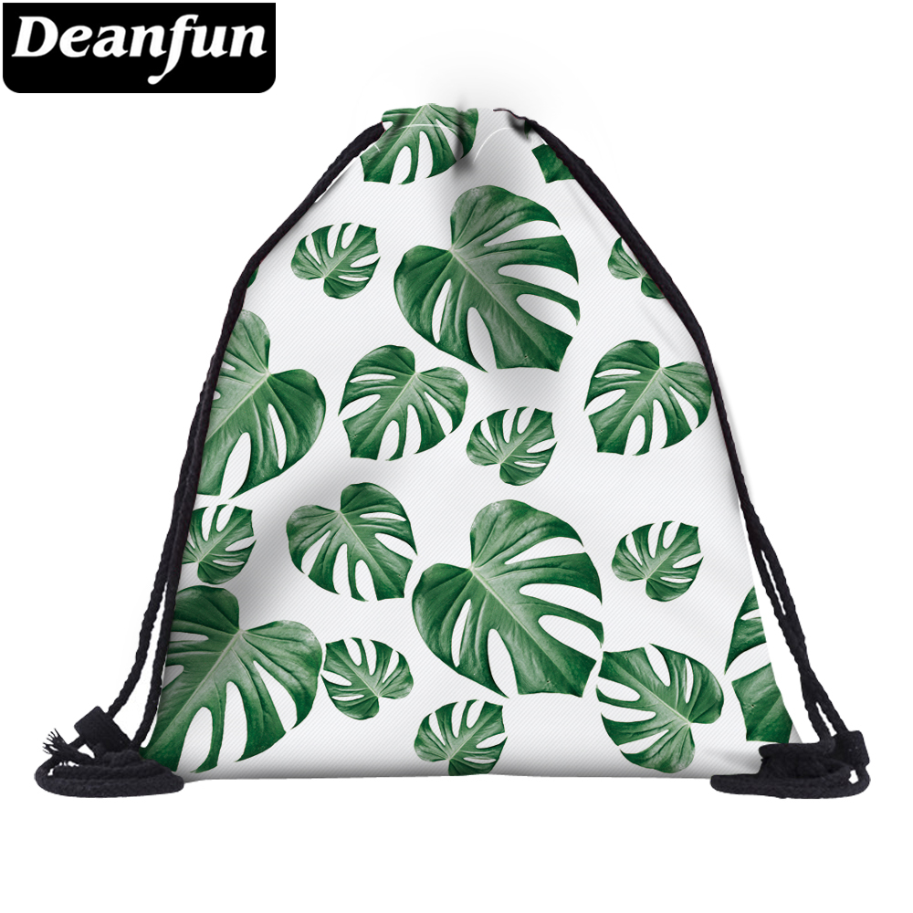 Deanfun Women 3D Printing Drawstring Bag Green Leaves Fashion For School 60132