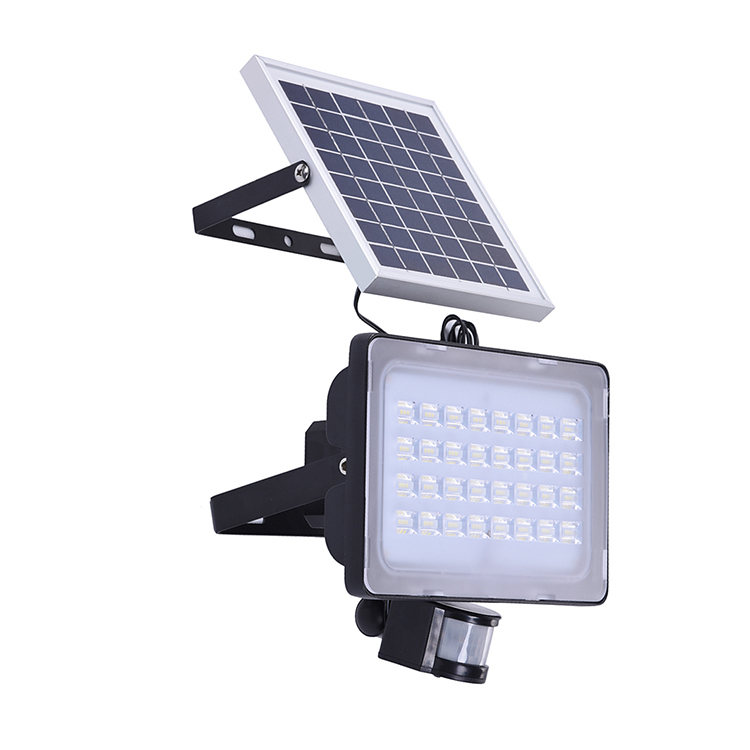 GERUITE 50W LED Solar Floodlight With PIR Motion Sensor 5730 SMD 3000LM DC12V 24V 6000K-6500K Cold White Outdoor Floodlights