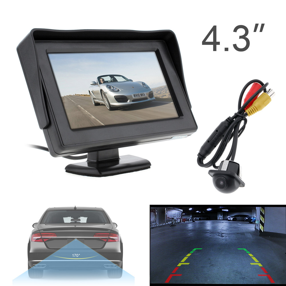 4.3INCH HD 480 x 234 Resolution 2-Channel Video Input TFT-LCD Car Monitor+170 Wide Angle 420 TV Lines Car Rear View Camera