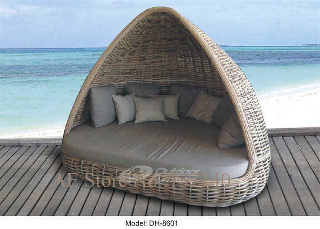 terrasse rattanm bel rattan runden bett gartenm bel. Black Bedroom Furniture Sets. Home Design Ideas