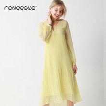 reneesme loose summer women dress long sleeve v neck pleated solid color vintage mid-calf ladies dresses yellow midi vestidos