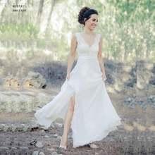 Сексуальное Кружевное пляжное свадебное платье с рукавами крылышками