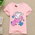 2016 летние Девушки парни футболка Детская Детская одежда ребенок мультфильм розовый красный свинья Топы и Тис girlstops nova bape