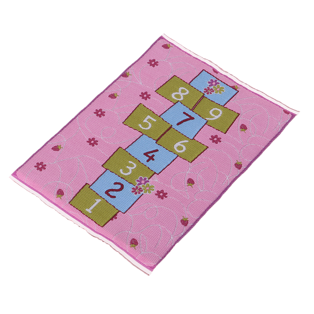 1/12 Dollhouse Miniature Rug Hopscotch Carpet Embroidery Cloth Mat Accessory