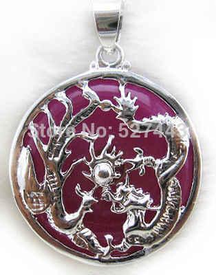 WholesaleLAN021 Trang Sức Phụ Nữ Mặt Dây Chuyền Vòng Cổ Dát Red k Rồng Phoenix Thời Trang