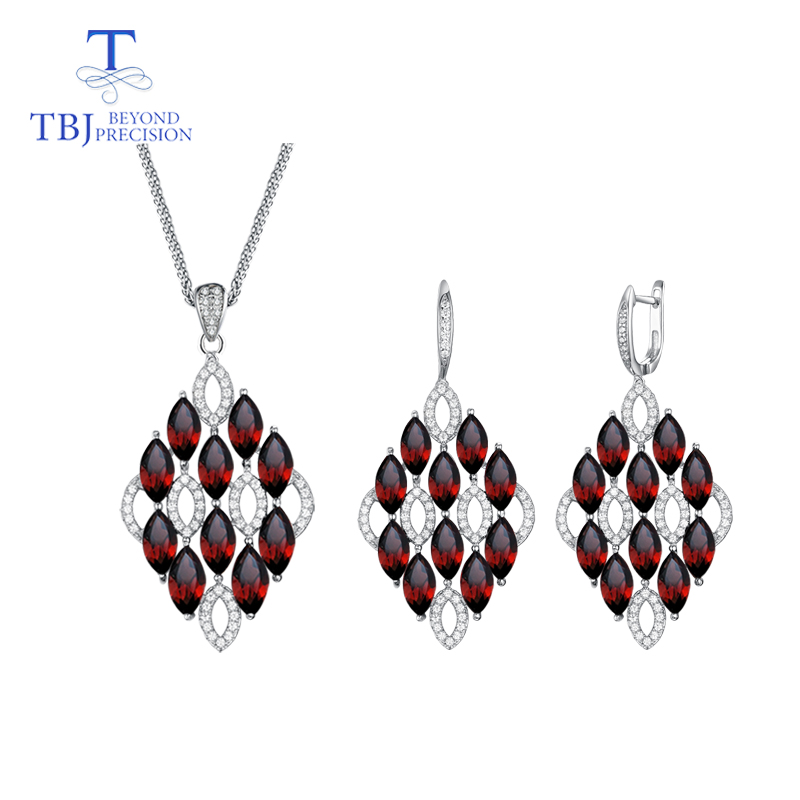 TBJ,big size Party earring pendant necklace natural mozambique garnet gemstone jewelry set 925 sterling silver for lady in partyTBJ,big size Party earring pendant necklace natural mozambique garnet gemstone jewelry set 925 sterling silver for lady in party