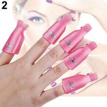 10 Unids Casquillo Clip de Plástico Acrílico Nail Art Soak Off UV Gel Nail Polish Remover Wrap
