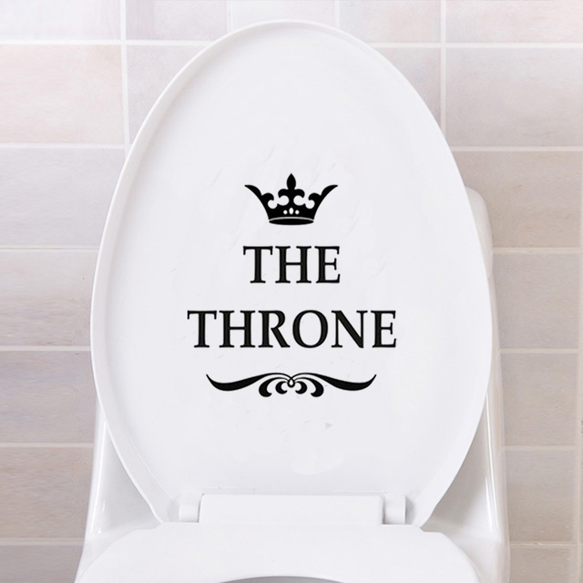 Creative Vinyl THE THRONE Funny Interesting Toilet Wall Sticker Bathroom for Home Decor Decal Poster Background Stickers