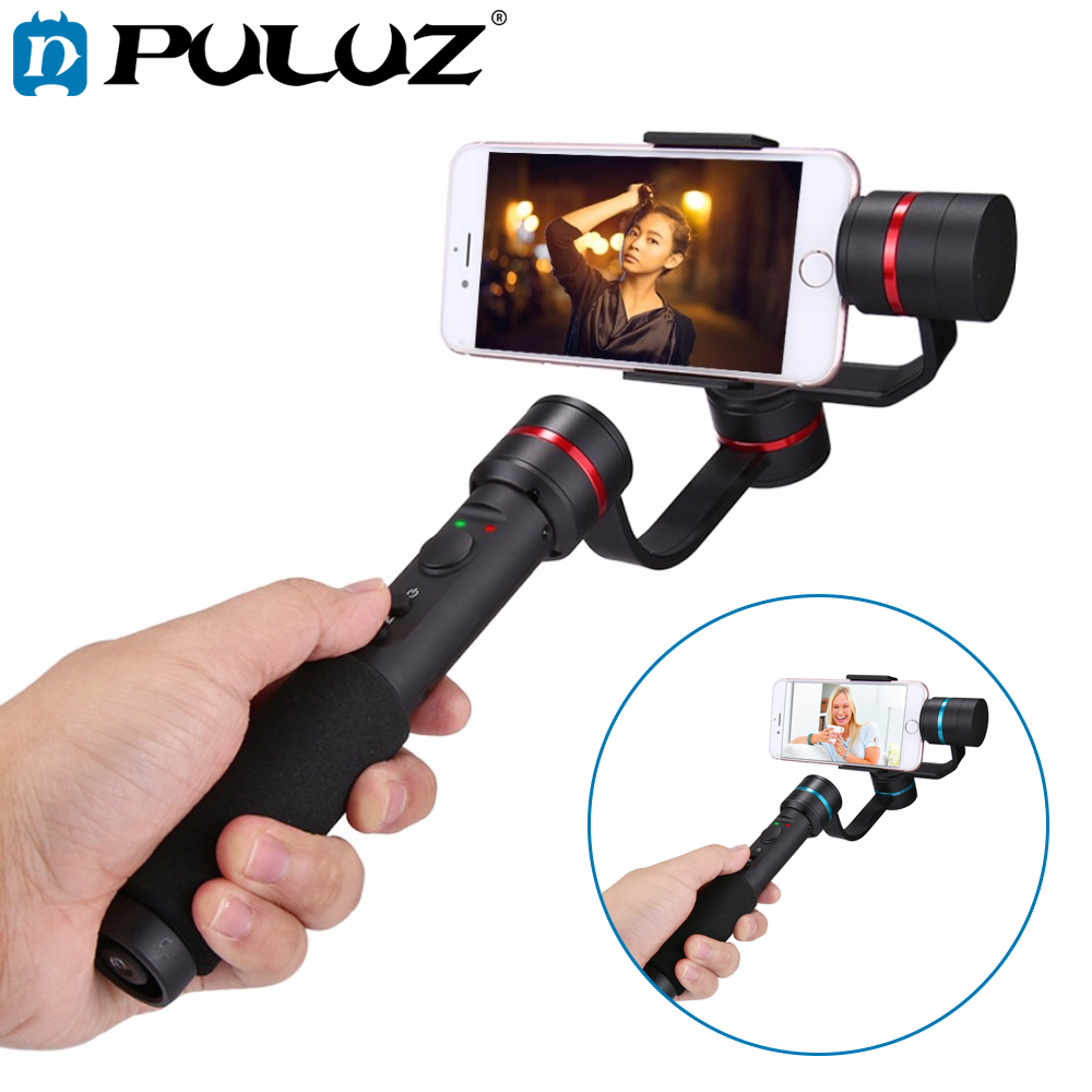 PULUZ G1 3-Axis Handheld Selfie Phone Gimbal Steadicam Stabilizer Clamp Mount for 4.7-5.5 Smartphones,360 Degree Phone gimbal xjjj jj 2 3 axis brushless handheld gimbal stabilizer 360 degree shooting fitting smart phone