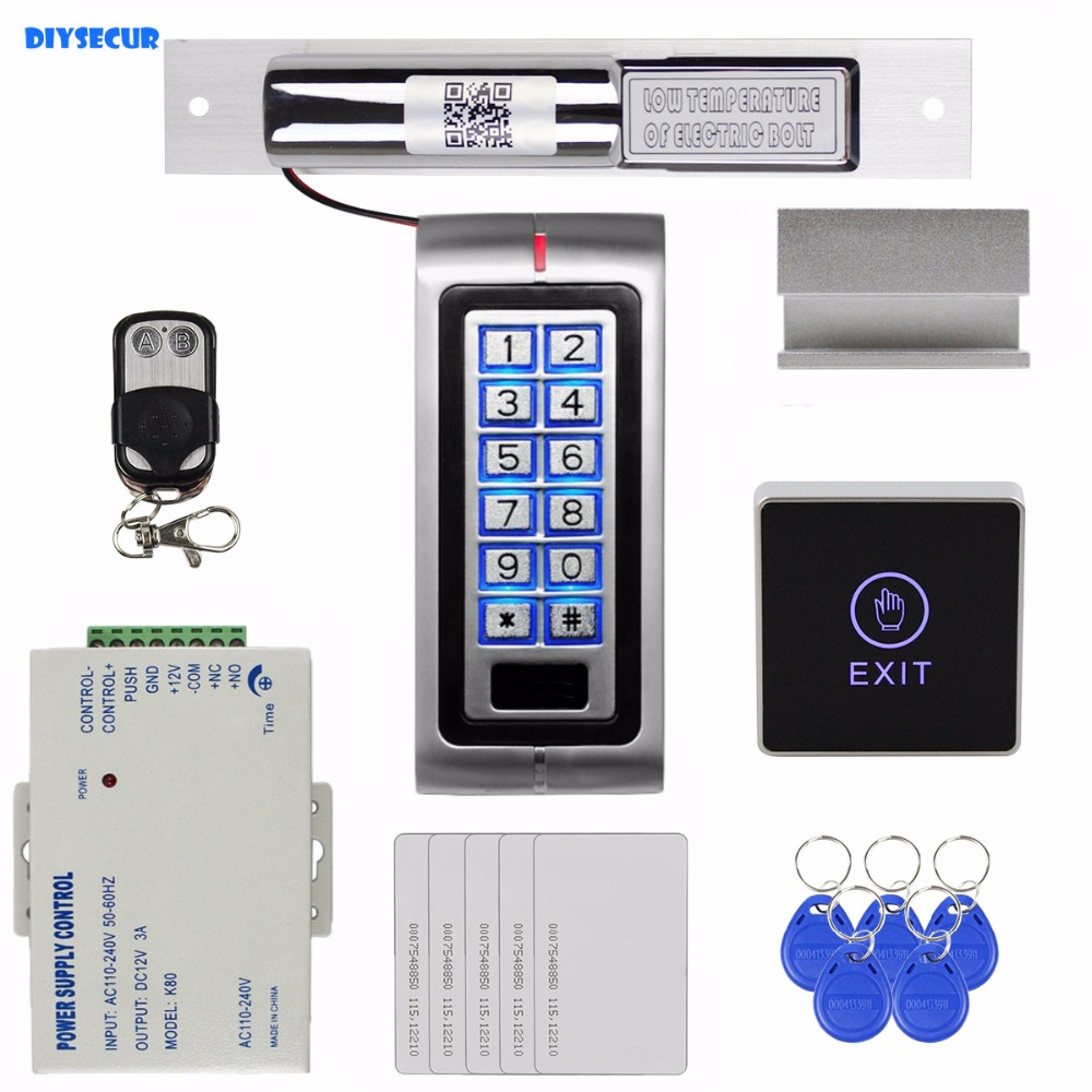 DIYSECUR 125KHz RFID Metal Keypad Access Control System Kit + Electric Bolt Lock with Door Clamp + Remote Controller K2 diy lock system metal keypadl k2 electric control lock 3a power supply exit button 10pcs key cards wireless remote control