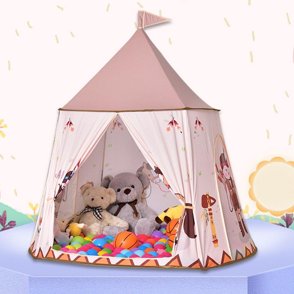 Tente pour enfants pour enfants princesse jouer maison Wigwam château Portable tipi enfants présents accrocher drapeau tente enfants chambre jeu jouets