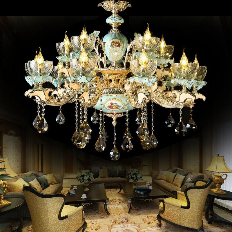 Luxury senior hotel lighting villa complex building staircase Living Room Blue Crystal Chandelier Zinc Alloy Ceramic