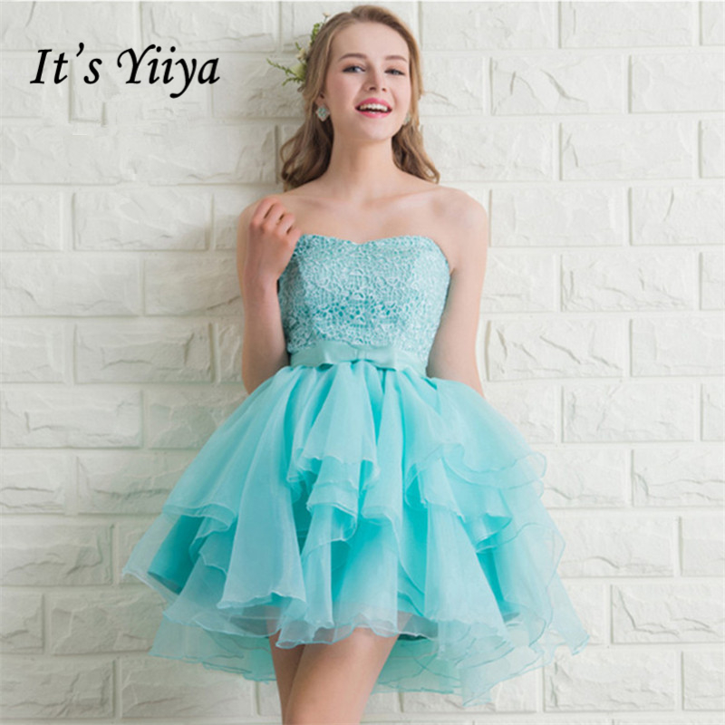 It's YiiYa   Bridesmaids     Dresses   Strapless Sleeveless Bow 7 styles Lace Ball Gown Formal   Dress   Lady Fashion Designer LX1013