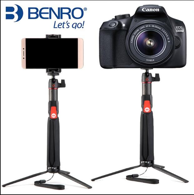 Benro SC1 carbon fiber mini Tripod portable selfie stick+wireless Bluetooth for smartphone Action camera Gopro Smooth 3 4
