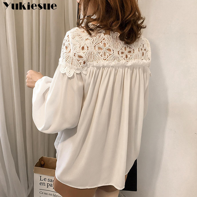 white woman blouses summer women's shirt blouse for women blusas womens tops and blouses lace chiffon shirts ladie's plus size 4