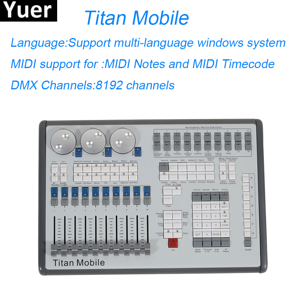 Titan Mobile Stage Lighting Controller 8192 Channels Professional Lighting Console Stage Lighting Dj Disco Lights Equipments