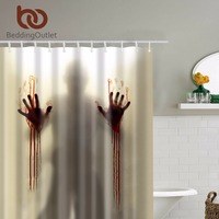 BeddingOutlet Scary Horrific Zombie Man With Bloody Hands Shower Curtain Waterproof Bathroom Shower Curtains Shower 71