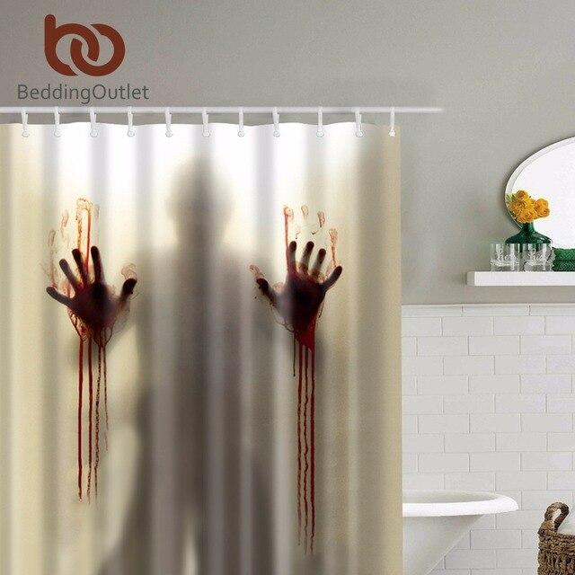 """BeddingOutlet Scary Mengerikan Zombie Man dengan Tangan berdarah Tirai Mandi Tahan Air Mandi Tirai Shower Shower 71 """"x 71"""" Hot"""