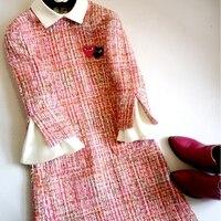 Новый 2019 твид little spell белый воротник розовый сладкий ветер платье с длинным рукавом тип A светское платье