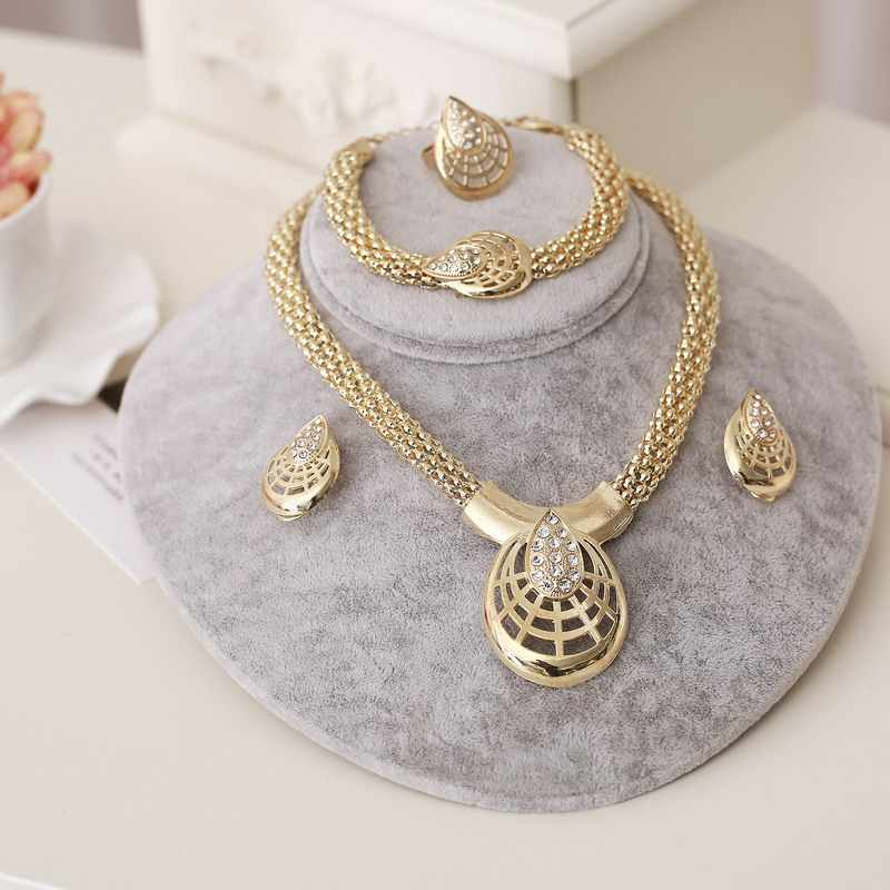 ZOSHI African Beads Jewelry Sets Gold Color Wedding Jewelry Sets for Women Necklace Bracelet With CZ Earrings Rings Accessories