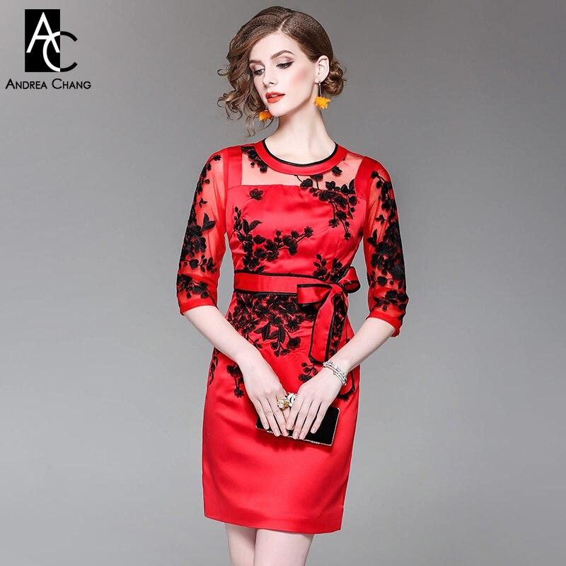 061f3a19ebe Printemps été femme robe noir blanc fleur broderie bleu marine rouge robe  de soirée vintage haute qualité grande taille robe d événement dans Robes  de Mode ...