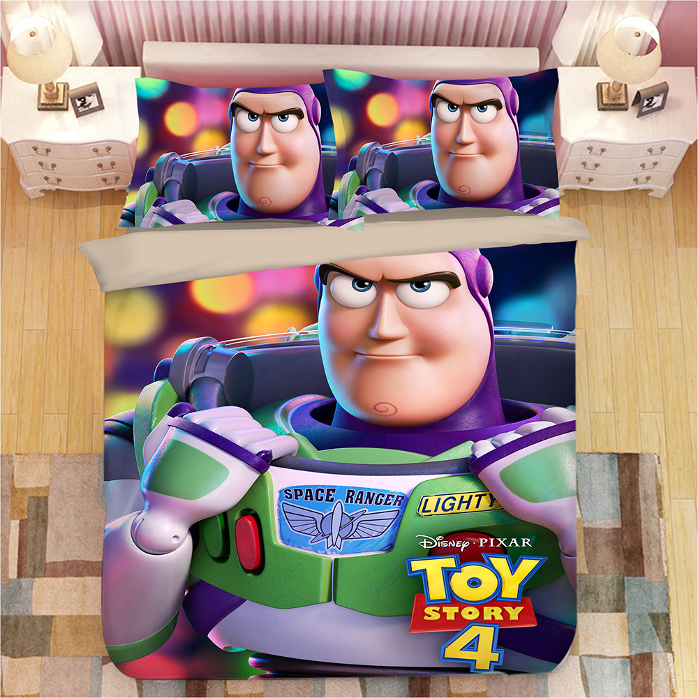 Pixar Disney Toy Story 4 Space Ranger Twin Quilt and Pillow Sham Set