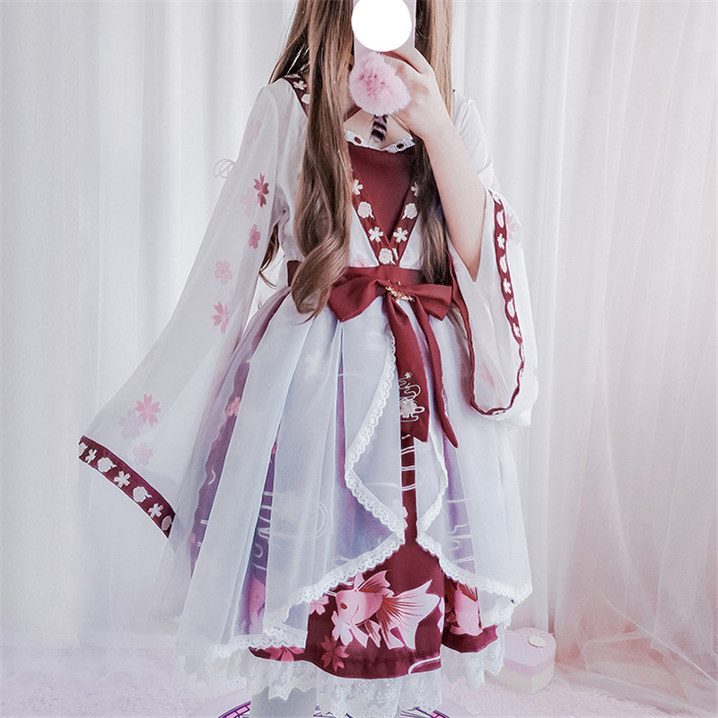 Sweet <font><b>Lolita</b></font> Dresses 2019 New Japanese Embroidery Cosplay Dress Bowtie Tasseles Sash Fake Two-piece Op Dress Girls Dress image
