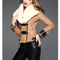 New Arrival Winter Jacket Women Coat With Fur Collar Slim Worm Outwear Black And Khaki