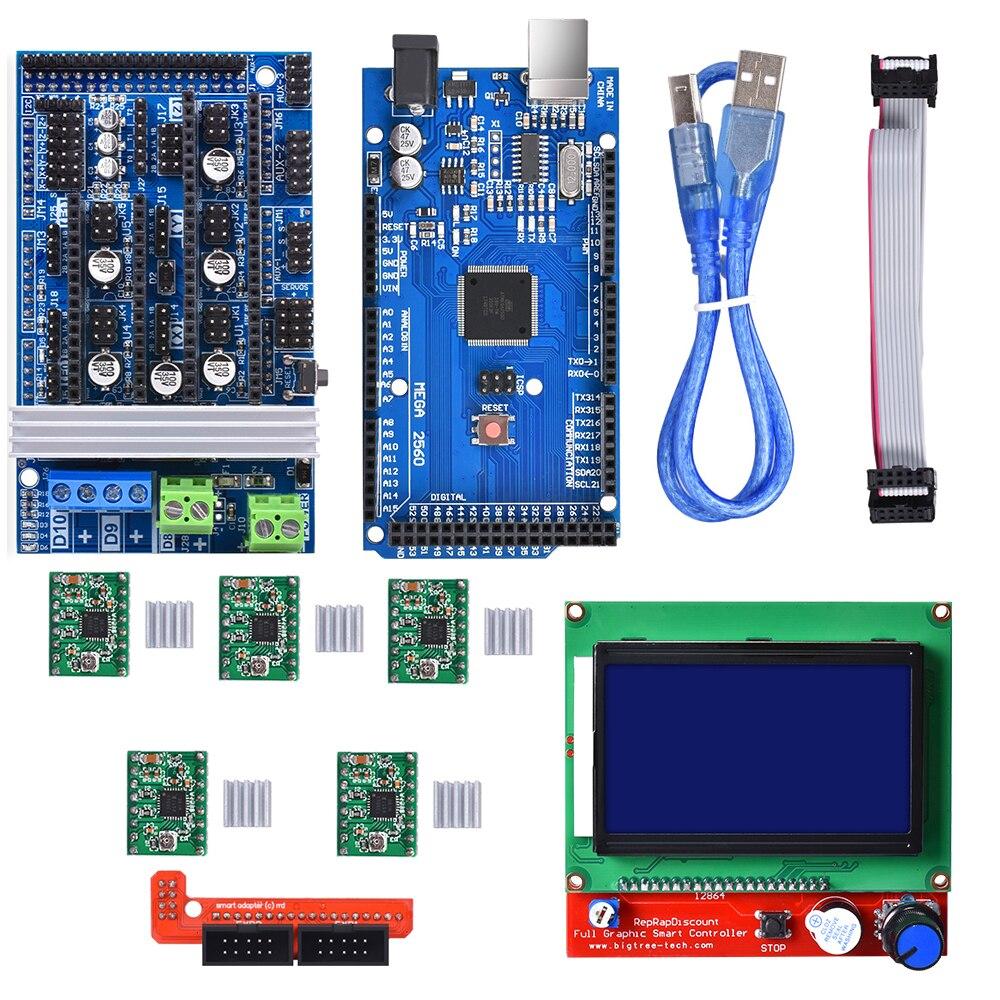 3D Printer Onderdelen Ramps 1.6 kit upgrade Base op Ramps 1.4 1.5 met Mega2560 Board Reprap Control + 12864LCD + a4988/Drv8825 Driver-in 3D Printer Onderdelen & Accessoires van Computer & Kantoor op AliExpress - 11.11_Dubbel 11Vrijgezellendag 1