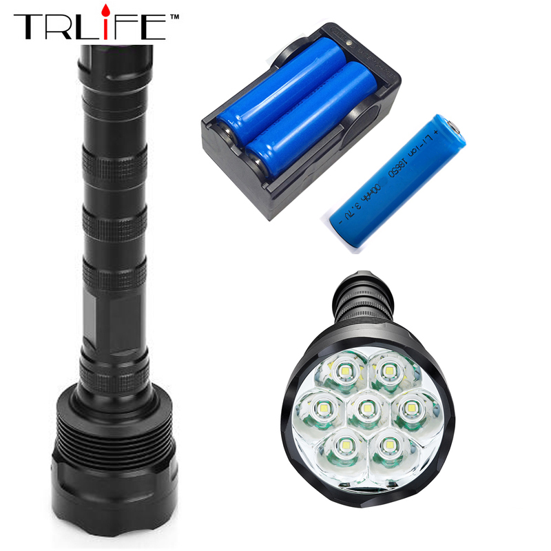7T6 Torch LED Flashlight 15000 Lumens Lamp Lights 7 XM-L T6 Flash Light Floodlight Camping Lantern Hunting + 3x 18650 +Charger led 1600 lumens 3 mod zoomable fashlight t6 light 3 aaa 1 18650 rechargeable flash light head torch lantern lamp