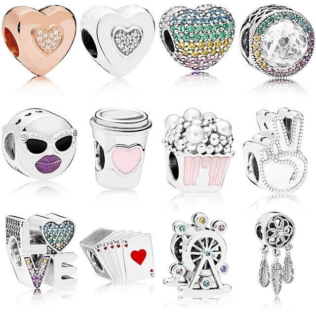 13 Style Silver Beads Charms Fashion Cute Popcorn Drink Love Crystal Beads for Women Original Pandora Charm Bracelet & Bangle