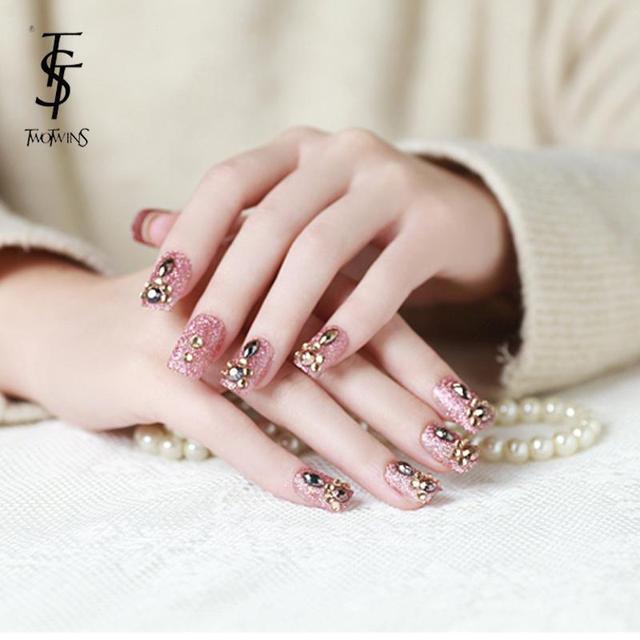 new fashion diamond fake nails extension false nails tips shining ...